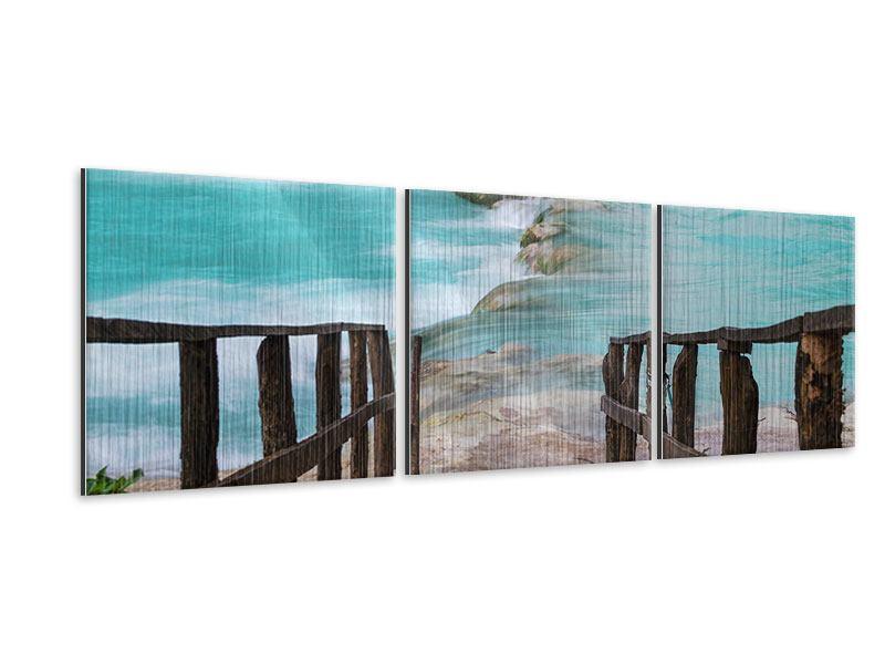 Panorama Metallic-Bild 3-teilig Haus am Wasserfall