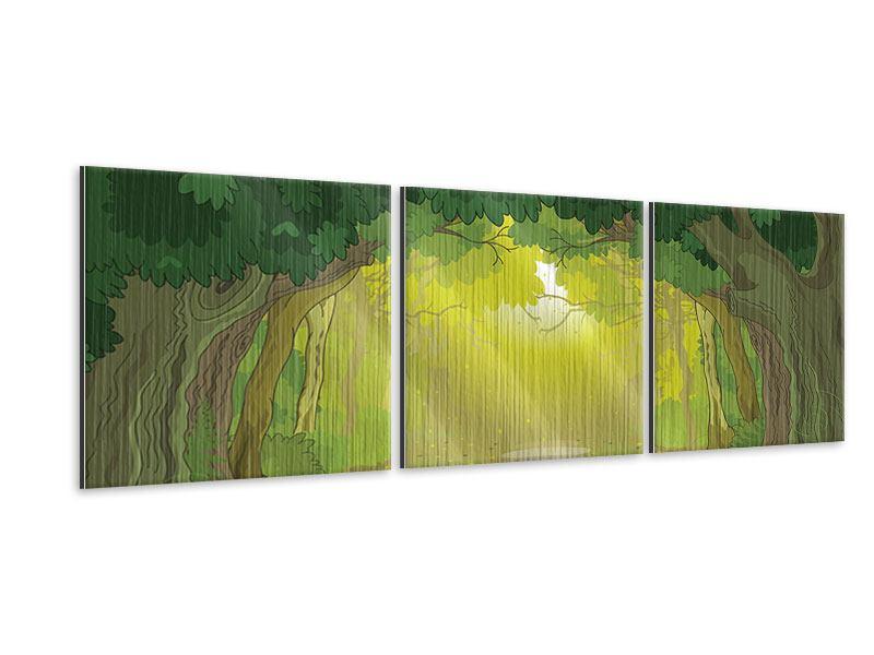 Panorama Metallic-Bild 3-teilig Der Märchenwald