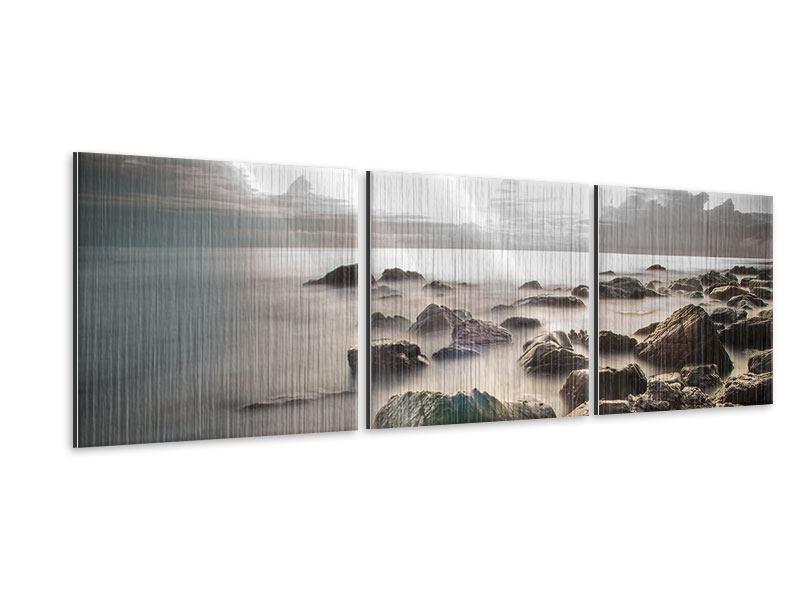 Panorama Metallic-Bild 3-teilig Steine am Strand