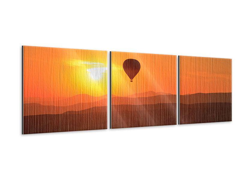 Panorama Metallic-Bild 3-teilig Heissluftballon bei Sonnenuntergang