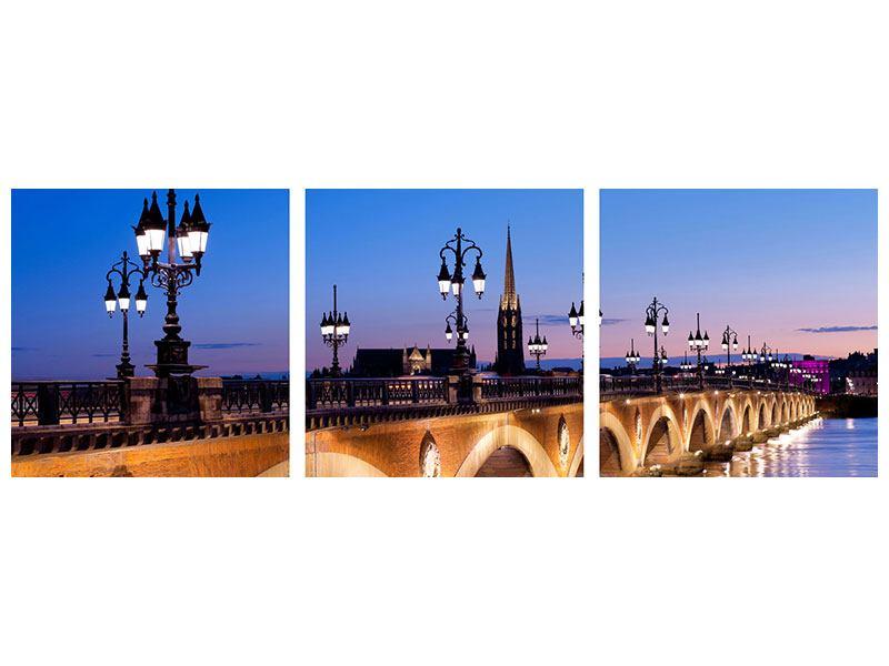 Panorama Metallic-Bild 3-teilig Pont De Pierre bei Sonnenuntergang