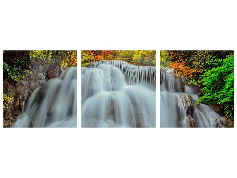 Panorama Metallic-Bild 3-teilig Fallendes Gewässer