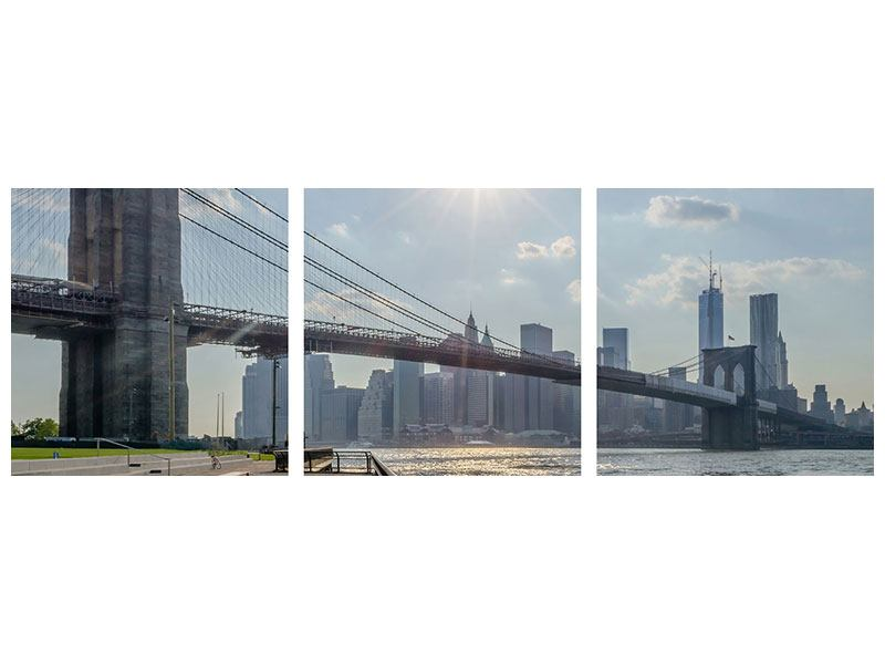 Panorama Metallic-Bild 3-teilig Brooklyn Bridge
