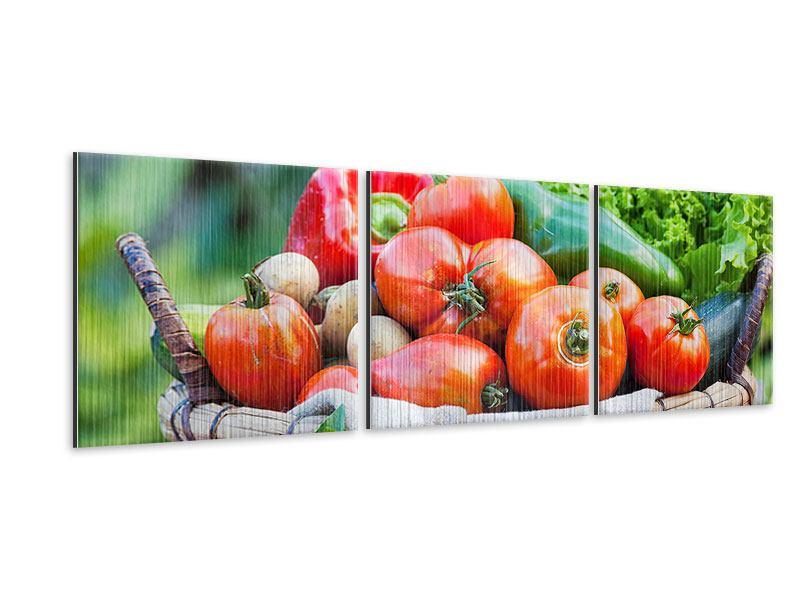 Panorama Metallic-Bild 3-teilig Gemüsekorb