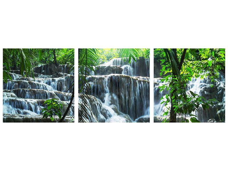 Panorama Metallic-Bild 3-teilig Wasserfall Agua Azul