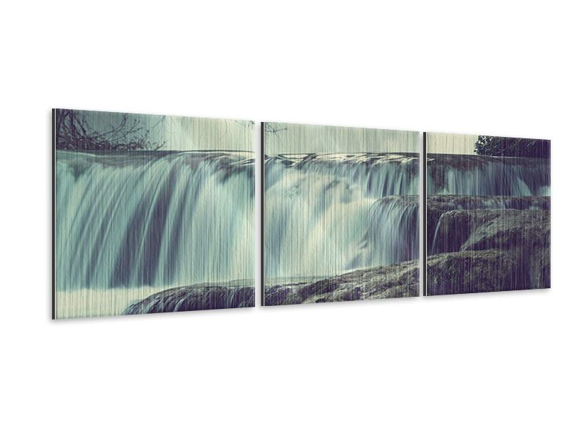 Panorama Metallic-Bild 3-teilig Wasserfall Mexiko