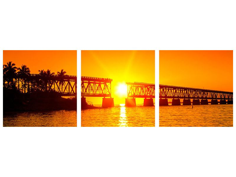 Panorama Metallic-Bild 3-teilig Sonnenuntergang an der Brücke