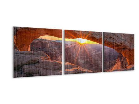 Panorama Metallic-Bild 3-teilig Sonnenuntergang am Mesa Arch