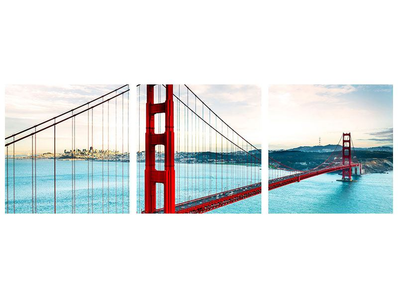 Panorama Metallic-Bild 3-teilig Golden Gate Bridge