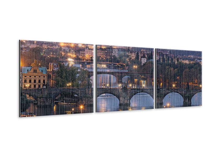 Panorama Metallic-Bild 3-teilig Brücken in Prag