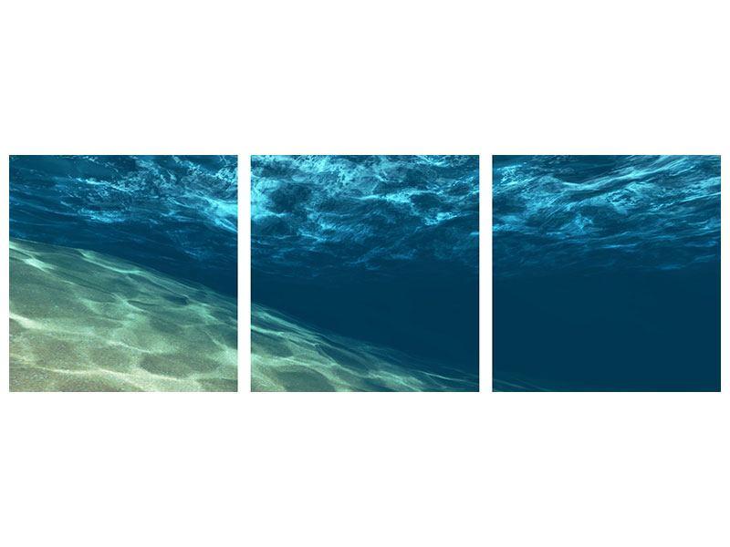 Panorama Metallic-Bild 3-teilig Unter dem Wasser