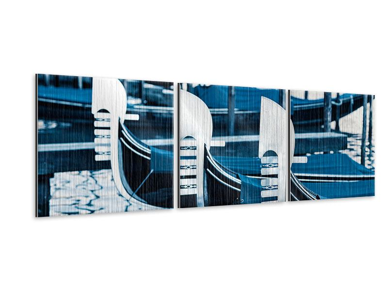 Panorama Metallic-Bild 3-teilig Gondeln in Venedig