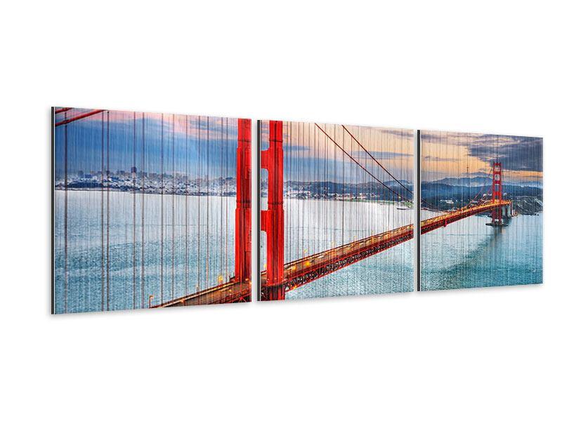 Panorama Metallic-Bild 3-teilig Der Golden Gate Bridge bei Sonnenuntergang