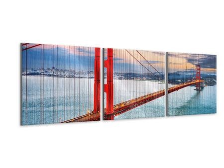 Panorama Metallic-Bild 3-teilig Der Golden Gate Bridge bei Sonnenuntergang