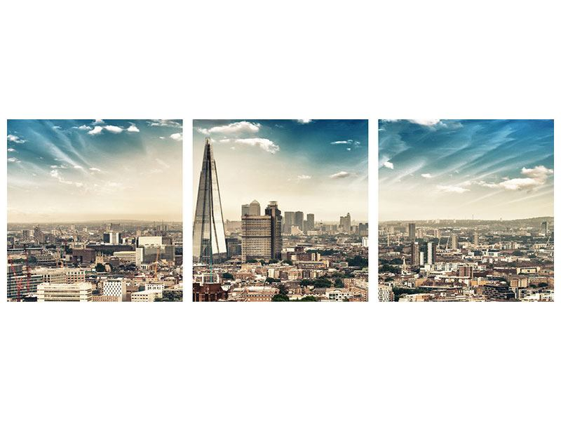 Panorama Metallic-Bild 3-teilig Skyline Über den Dächern von London