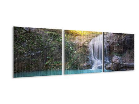 Panorama Metallic-Bild 3-teilig Fliessender Wasserfall