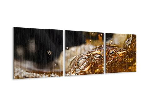 Panorama Metallic-Bild 3-teilig Cognac