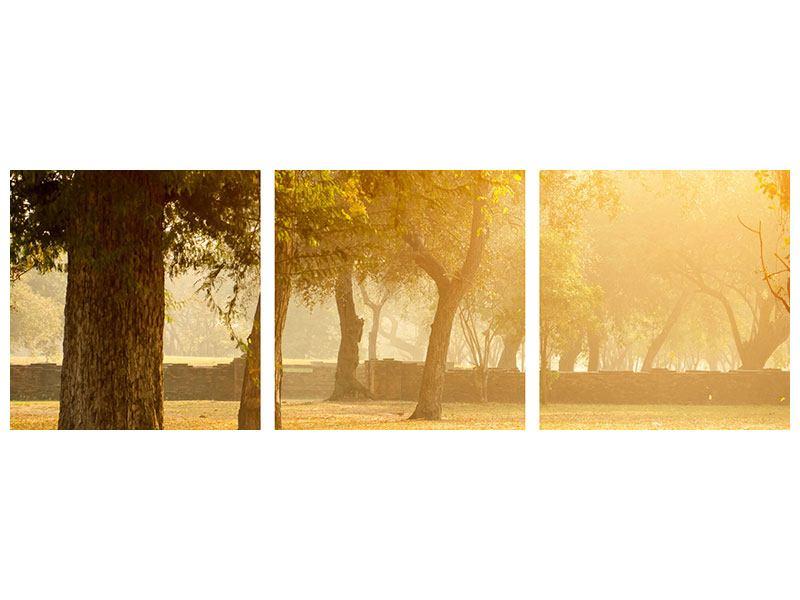 Panorama Metallic-Bild 3-teilig Romantik unter Bäumen