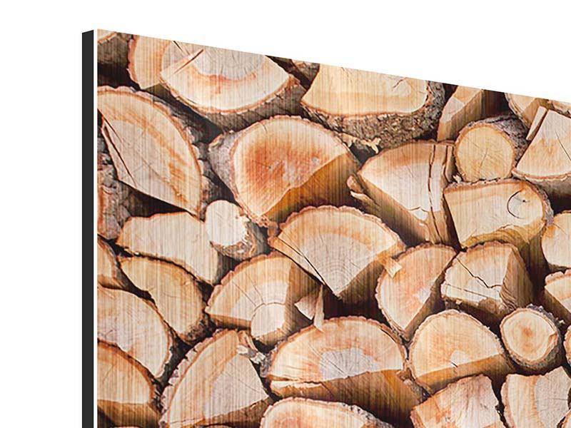 Panorama Metallic-Bild 3-teilig Birkenstapel