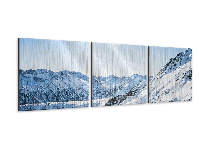 Panorama Metallic-Bild 3-teilig Bergpanorama im Schnee