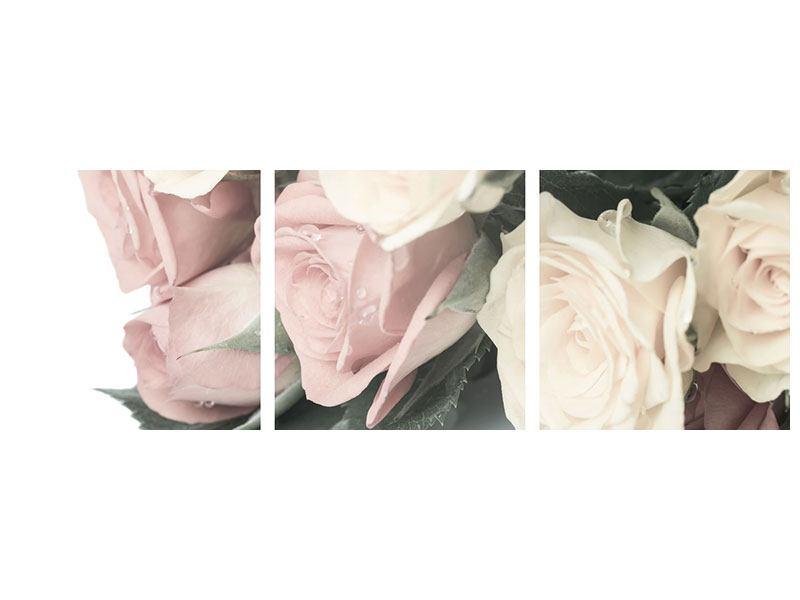 Panorama Metallic-Bild 3-teilig Rosenromantik
