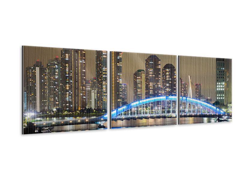 Panorama Metallic-Bild 3-teilig Skyline Tokio in der Nacht