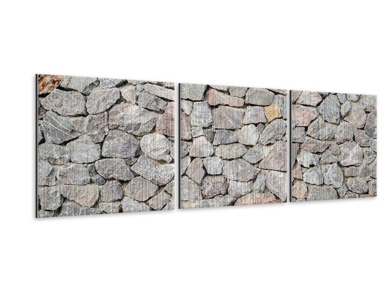 Panorama Metallic-Bild 3-teilig Grunge-Stil Mauer