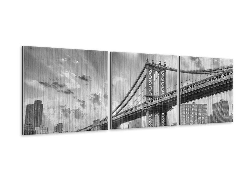 Panorama Metallic-Bild 3-teilig Manhattan Bridge