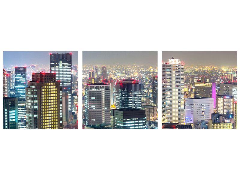 Panorama Metallic-Bild 3-teilig Skyline Osaka im Lichtermeer