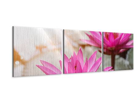 Panorama Metallic-Bild 3-teilig Lotus-Duo