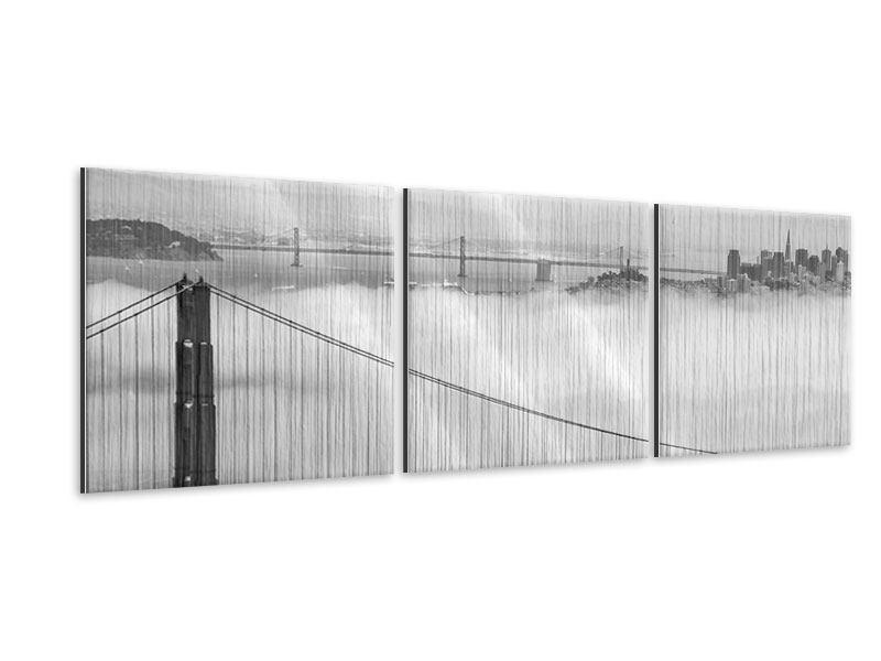 Panorama Metallic-Bild 3-teilig Golden Gate Brücke