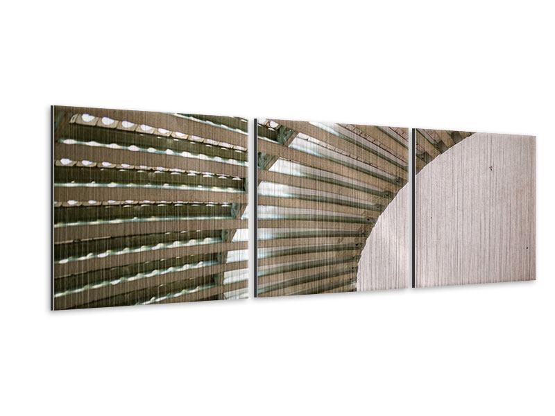 Panorama Metallic-Bild 3-teilig Abstraktes Rad
