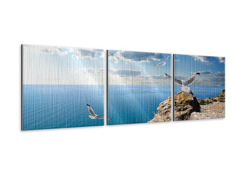 Panorama Metallic-Bild 3-teilig Die Möwen und das Meer