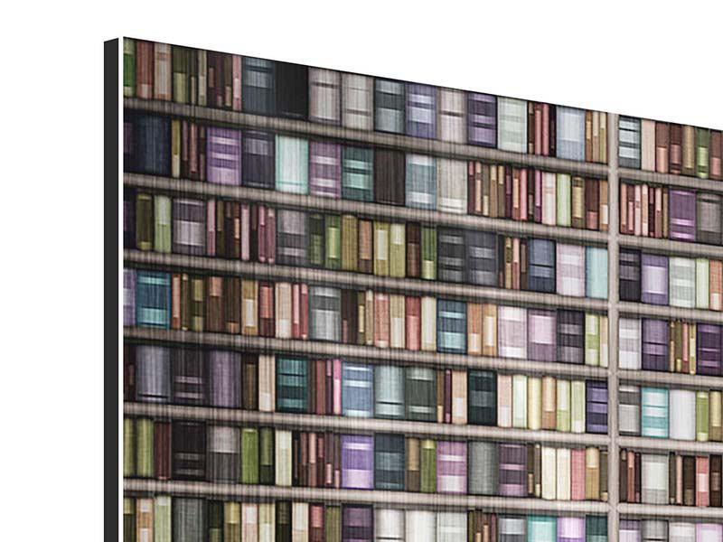 Panorama Metallic-Bild 3-teilig Bücherregal