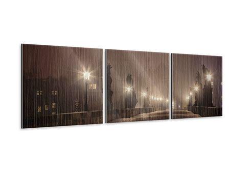 Panorama Metallic-Bild 3-teilig Die Karlsbrücke bei Nacht
