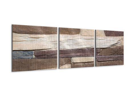 Panorama Metallic-Bild 3-teilig Designer-Mauer