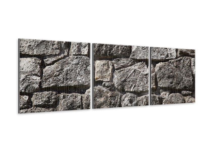 Panorama Metallic-Bild 3-teilig Grosses Mauerwerk