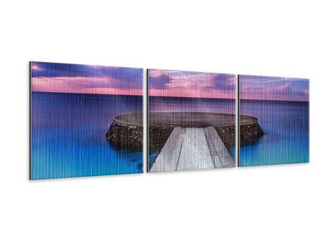 Panorama Metallic-Bild 3-teilig Meditation am Meer
