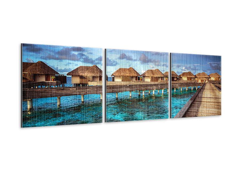 Panorama Metallic-Bild 3-teilig Traumhaus im Wasser