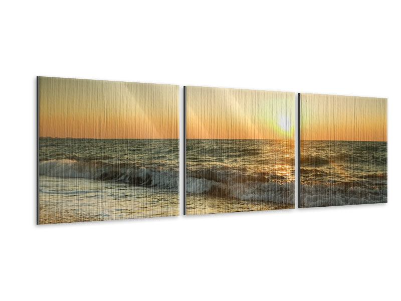Panorama Metallic-Bild 3-teilig Sonnenuntergang am Meer