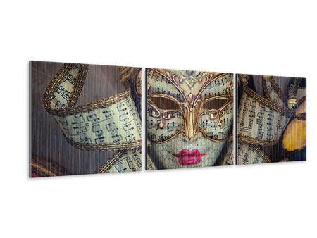Panorama Metallic-Bild 3-teilig Venezianische Maske