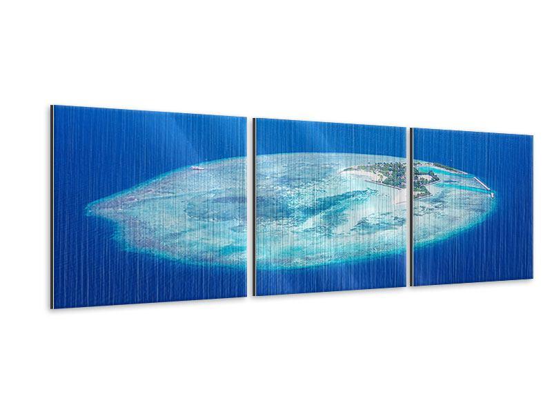 Panorama Metallic-Bild 3-teilig Reif für die Trauminsel