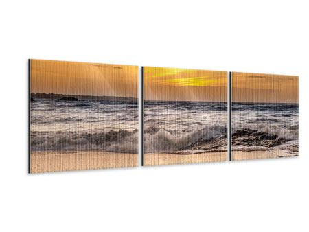 Panorama Metallic-Bild 3-teilig See mit Sonnenuntergang