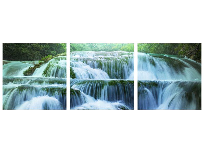 Panorama Metallic-Bild 3-teilig Gigantischer Wasserfall