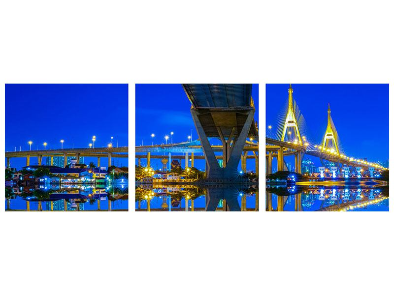 Panoramic 3 Piece Metallic Print Bhumiboll Bridge