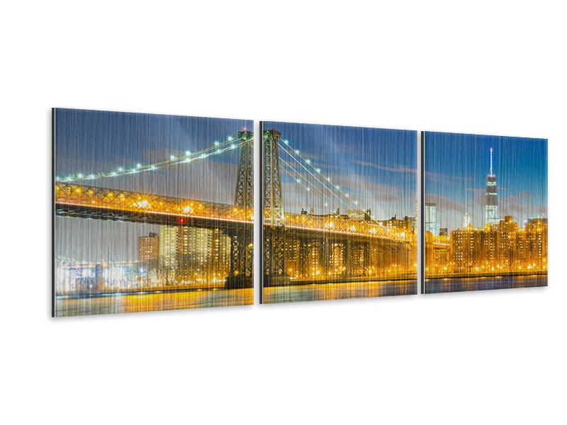 Panorama Metallic-Bild 3-teilig Brooklyn Bridge bei Nacht