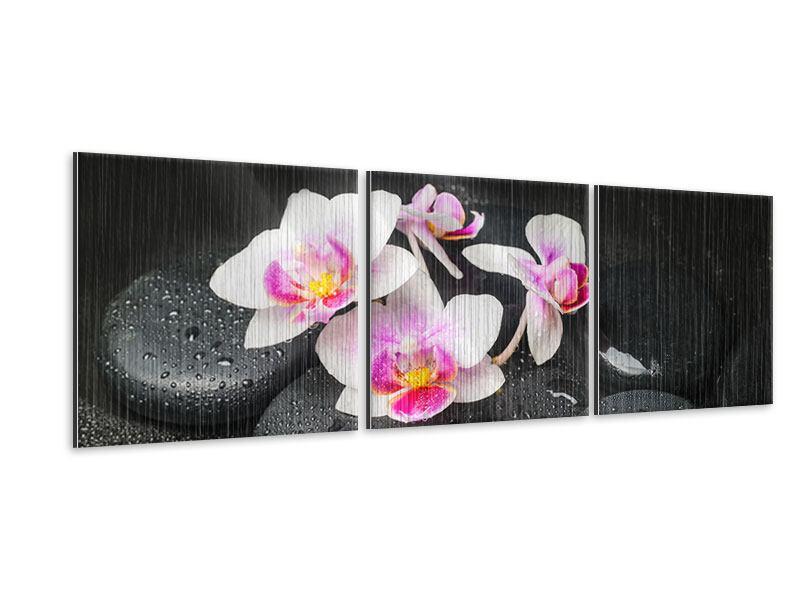 Panorama Metallic-Bild 3-teilig Feng-Shui-Orchidee Zen