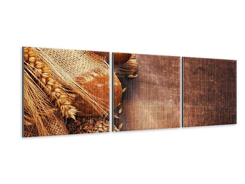 Panorama Metallic-Bild 3-teilig Frische Brote