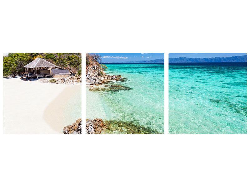 Panorama Metallic-Bild 3-teilig Das Haus am Strand