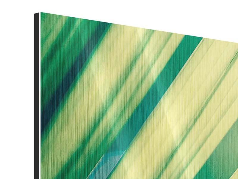 Panorama Metallic-Bild 3-teilig Beleuchtetes Palmblatt